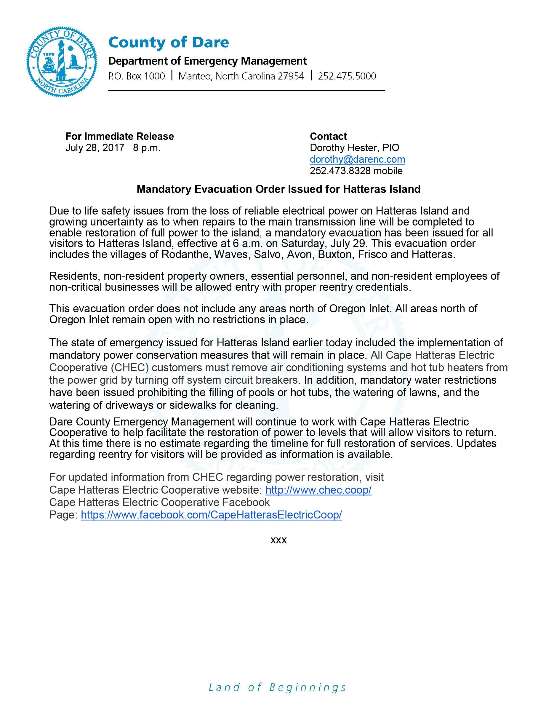 Evacuation Mandatory Issued Hatteras Island