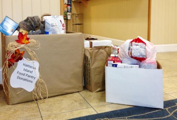 Hatteras food drive drop off at Midgett Realty