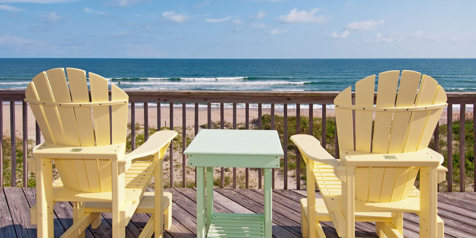 Colorful chairs at Dolphin Watch, a Hatteras Vacation Rental